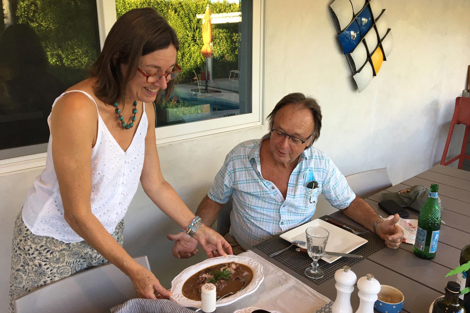 Andrea serving guest